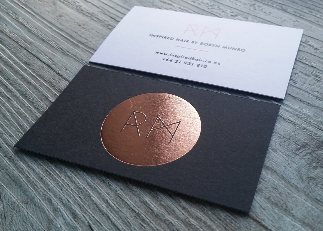 Black and bronze foil business cards from Pinc